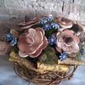 """Kerámia  Virág  Dekoráció ,  Natúr-Türkizzel Bolondítva"""", Otthon, lakberendezés, Dekoráció, Dísz, Kaspó, virágtartó, váza, korsó, cserép, Kerámia, Virágkötés, Aprólékos kézi munkával készült kerámia virágok ,festett drótszáron egyedi  vessző kaspóban.Ezeket ..., Meska"""