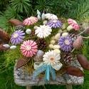 """,Szeptemberi  Harmónia"""" Kerámia Virágok  , Otthon, lakberendezés, Kaspó, virágtartó, váza, korsó, cserép, Kerámia, Virágkötés, Kézzel készített mázas kerámia virágok festett drót száron , vessző kosárban összeállítva..A kompoz..., Meska"""