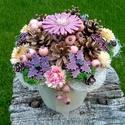 """,Pasztel Színek""""Ünnepi  Kerámia  Virág Asztaldísz, Otthon, lakberendezés, Kaspó, virágtartó, váza, korsó, cserép, Kerámia, Virágkötés, Kézzel készített mázas kerámia virágok festett drót száron ,mázas kaspóban száraz virággal,termésse..., Meska"""