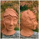 """,Őszi Merengés """" Terrakotta Női Fej, Dekoráció, Képzőművészet, Szobor, Kerámia, Kerámia, Vörös agyagból korongozással készült női  fej forma melyet haj helyett falevelekkel borítottam. Az ..., Meska"""