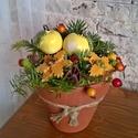 Kis Krerámia  Almás,Virágos Asztaldísz, Dekoráció, Otthon, lakberendezés, Kaspó, virágtartó, váza, korsó, cserép, Kerámia, Virágkötés, Fehér agyagból aprólékos kézi munkával készítettem ezeket a mázas kerámia virágokat és almákat mely..., Meska