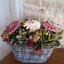 """,Színes"""" Kerámia Virágos Asztaldísz, Dekoráció, Otthon, lakberendezés, Kaspó, virágtartó, váza, korsó, cserép, Kerámia, Virágkötés, Aprólékos kézi munkával fehér agyagból készült mázas kerámia virágok, melyeket száraz növények ,ter..., Meska"""