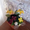 """,Sárga Harangvirágok""""Kerámia Virágos Asztaldísz, Dekoráció, Otthon, lakberendezés, Kaspó, virágtartó, váza, korsó, cserép, Kerámia, Virágkötés, Ha már nem bírod tovább és kell valami tavasz!Aprólékos kézi munkával fehér agyagból készítettem ez..., Meska"""