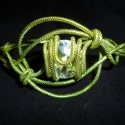 Zöld karperec fehér swarovskikristállyal, Ékszer, óra, Karkötő, , Meska