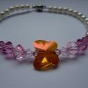 Swarovski pillangós karkötő: narancs-rózsaszín, Ékszer, óra, Karkötő, , Meska