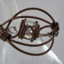 Fehér kristály-bronz karperec, Ékszer, óra, Karkötő, , Meska