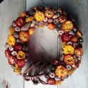 NarancsŐsziKoszorú, Dekoráció, Esküvő, Otthon, lakberendezés, Dísz, Mindenmás, Virágkötés, Őszies hangulatú dekoráció ,ami akár asztali- vagy ajtódíszként használható. Narancssárga, bordó, b..., Meska