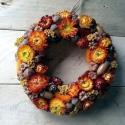 NarancsŐsziKoszorú2, Dekoráció, Esküvő, Otthon, lakberendezés, Dísz, Mindenmás, Virágkötés, Őszies hangulatú dekoráció ,ami akár asztali- vagy ajtódíszként használható. Narancssárga, bordó, b..., Meska