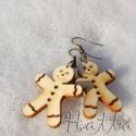 Gingerbread man, avagy Mézi, Ékszer, óra, Dekoráció, Fülbevaló, Medál, Ékszerkészítés, Famegmunkálás, Végre itt a hó! Élvezd még az idei telet, ezek a fából készült piciny mézeskalács figurák megvidámí..., Meska