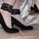 Fekete strasszos bokacsipke - fotózáshoz is , Ruha, divat, cipő, Varrás, Fekete elasztikus csipkéből készült, strasszkövekkel díszített csinos bokacsipke.  Ezzel a kiegészí..., Meska