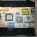 Baglyos textilbőr táska, Baba-mama-gyerek, Ruha, divat, cipő, Táska, Varrás, Sötétkék,szinte fekete textilbőrből készült ez a nagyobb méretű táska-A/4es könyvek,füzetek elférne..., Meska