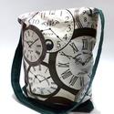 Órás táska, Táska, Szatyor, Varrás, Pamut anyagból és pamutvászonból varrtam ezt az órás táskát. Van bélése, zöld pamutvászon. A táskán..., Meska