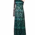 Éjszakai szenvedély alkalmi ruha, Ruha, divat, cipő, Női ruha, Estélyi ruha, Ruha, Selyemfestés, Varrás, Kézzel festett, türkiz-fekete színű, egyedi tervezésű és készítésű, szatén, csipke alkalmi ruha. 38..., Meska