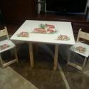 Sünis Asztal és szék, Bútor, Baba-mama-gyerek, Asztal, Gyerekszoba, Famegmunkálás, Festészet, Sünis Asztal és szék  Az aukció tárgya 1 db asztal és hozzá 2db szék Fenyő alapanyagból készült egy..., Meska