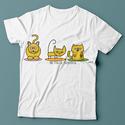 Három cica póló, Baba-mama-gyerek, Ruha, divat, cipő, Festett tárgyak, Fotó, grafika, rajz, illusztráció, Három-cicás póló  Saját, egyedi grafikámmal díszített rendelésre készített póló.  Anyaga minőségi p..., Meska
