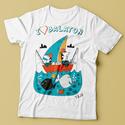 """Balatoni horgászok póló, Baba-mama-gyerek, Ruha, divat, cipő, Baba-mama kellék, Festett tárgyak, Fotó, grafika, rajz, illusztráció, """"Balaton horgászok"""" póló  Saját, egyedi grafikámmal díszített rendelésre készített póló.  Anyaga mi..., Meska"""