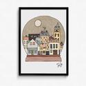 Lakásdekoráció kép, kerettel, ingyenes szállítással: hógömb egy kicsit másképp, Dekoráció, Kép, Mindenmás, Kézzel rajzolt Hógömb, egy kicsit másképp :-).  Professzionális, magas minőségű papírra nyomtatva, ..., Meska