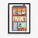 Lakásdekoráció kép, kerettel, ingyenes szállítással: Tesz-vesz házikó, Dekoráció, Kép, Mindenmás, Kézzel rajzolt Tesz-vesz sorozatom házikó kép.  Professzionális, magas minőségű papírra nyomtatva, ..., Meska
