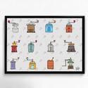 Lakásdekoráció kép, kerettel, ingyenes szállítással: kávédarálók kávémániásoknak, Dekoráció, Kép, Mindenmás, Kézzel rajzolt kávédarálók egészen a múlt századból.  Kiváló minőségű papírra nyomtatva, választhat..., Meska