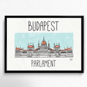 Lakásdekoráció kép, kerettel, ingyenes szállítással: Budapest Parlament, Dekoráció, Kép, Fotó, grafika, rajz, illusztráció, Mindenmás, Kézzel rajzolt kép a budapesti Parlamentről!  Professzionális, magas minőségű papírra nyomtatva, vá..., Meska