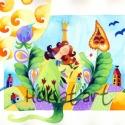 Tulipánkirálynő, Képzőművészet, Festmény, Akvarell, Illusztráció, Kispéldányszámú reprodukció (20), aláírt számozott nyomat az eredeti akvarell festményről. Mérete 2..., Meska