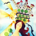 Városi lány - művészi nyomat, Képzőművészet, Festmény, Akvarell, Illusztráció, Festészet, Kispéldányszámú reprodukció (20), aláírt számozott nyomat az eredeti akvarell festményről. Mérete ..., Meska