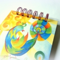 Füzet- Csodálatos madár, Képeslap, album, füzet, Képzőművészet , Jegyzetfüzet, napló, naptár, Vegyes technika, Papírművészet, Mesés füzet, előlapján egy festményem képével. Mérete: 11 x 15 cm Fém spirállal összefűzve (a spirál..., Meska