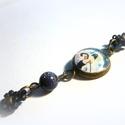 Álom luxuskivitelben karkötő, Ékszer, óra, Képzőművészet, Karkötő, Igazi romantikus, művészetkedvelő darab. Különleges fekete napkő ásvánnyal, japángyöngy virágsorosfű..., Meska