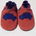 Puhatalpú bőr  cipő Királykék autós, Baba-mama-gyerek, Ruha, divat, cipő, Cipő, papucs, Bőrművesség, Varrás, Puhatalpú bőr mamusz. A lábak szabad mozgásáért!Termékem kék és tégla piros színü bőrből készült.A ..., Meska