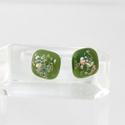 Zöld csillámos pötty füli, üvegékszer, Ékszer, óra, Fülbevaló, Ékszerkészítés, Üvegművészet, Fusing(üvegrogyasztás) technikával  készült fülbevaló. Átmérője 1cm. Boltomban megtalálod a hozzá v..., Meska