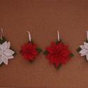 Mikulásvirág karácsonyfadísz (4 db) , Dekoráció, Karácsonyi, adventi apróságok, Ünnepi dekoráció, Karácsonyfadísz, Varrás, A csomag négy darab gyapjúfilcből készült mikulásvirágot tartalmaz, piros és fehér színekben. A dís..., Meska