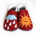 Bőr puhatalpú babacipő - Napocska, felhő, Baba-mama-gyerek, Ruha, divat, cipő, Gyerekruha, Baba (0-1év), Varrás, Teljesen bőr babacipő, mely ideális a járni tanuló babáknak, vagy nagyobb gyermekeknek.  15-26-os mé..., Meska