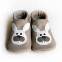 Bőr puhatalpú babacipő - Nyuszi, Baba-mama-gyerek, Ruha, divat, cipő, Gyerekruha, Baba (0-1év), Varrás, Teljesen bőr babacipő, mely ideális a járni tanuló babáknak, vagy nagyobb gyermekeknek.  15-26-os m..., Meska