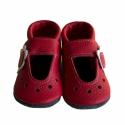 Piros bőr puhatalpú szandál babáknak - Virágos, Baba-mama-gyerek, Ruha, divat, cipő, Gyerekruha, Baba (0-1év), Varrás, Teljesen bőr babaszandi, mely ideális a járni tanuló babáknak, vagy nagyobb gyermekeknek.  15-26-os..., Meska