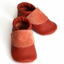 Bőr puhatalpú babacipő - Téglavörös, Baba-mama-gyerek, Ruha, divat, cipő, Gyerekruha, Baba (0-1év), Varrás, Teljesen bőr babacipő, mely ideális a járni tanuló babáknak, vagy nagyobb gyermekeknek.  15-26-os m..., Meska