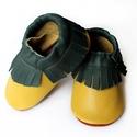 Bőr mokaszin - Sárga + Zöld, Baba-mama-gyerek, Ruha, divat, cipő, Gyerekruha, Baba (0-1év), Varrás, Teljesen bőr babacipő, mely ideális a járni tanuló babáknak, vagy nagyobb gyermekeknek.  15-26-os m..., Meska