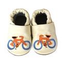Bőr puhatalpú babacipő -Biciklis, Baba-mama-gyerek, Ruha, divat, cipő, Gyerekruha, Baba (0-1év), Varrás, Teljesen bőr babacipő, mely ideális a járni tanuló babáknak, vagy nagyobb gyermekeknek.  15-26-os m..., Meska
