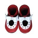 Bőr puhatalpú szandál - Nagy masnis - Piros/Fehér, Baba-mama-gyerek, Ruha, divat, cipő, Cipő, papucs, Varrás, Teljesen bőr babacipő, mely ideális a járni tanuló babáknak, vagy nagyobb gyermekeknek.  15-26-os m..., Meska