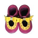 Bőr puhatalpú szandál - Nagy masnis - Pink/Sárga, Baba-mama-gyerek, Ruha, divat, cipő, Cipő, papucs, Varrás, Teljesen bőr babacipő, mely ideális a járni tanuló babáknak, vagy nagyobb gyermekeknek.  15-26-os m..., Meska
