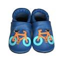 Bőr puhatalpú babacipő - Biciklis/Kék, Baba-mama-gyerek, Ruha, divat, cipő, Cipő, papucs, Varrás, Teljesen bőr babacipő, mely ideális a járni tanuló babáknak, vagy nagyobb gyermekeknek.  15-26-os m..., Meska
