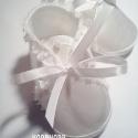 Fodros-gyöngyös keresztelő cipőcske, Ruha, divat, cipő, Baba-mama-gyerek, Gyerekruha, Baba (0-1év), Varrás, Kisbabáknak hófehér alkalmi szatén cipellő keresztelőre, ünnepi alkalmakra, vagy akár utcai viselet..., Meska