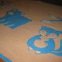 erdei állatos takaró - névre szólóan, Baba-mama-gyerek, Gyerekszoba, Falvédő, takaró, Baba-mama kellék, Varrás, Kisgyermekek részére, két natúr színű, puha polár felhasználásával készítettem ezt az erdei állatos..., Meska