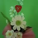 Horgolt virágcsokor, Dekoráció, Ünnepi dekoráció, Horgolás, Virágkötés, Horgolt virágcsokor,egy gerbera és három tölcsérvirágot tartalmaz. A csomagolás, szín és a díszítő ..., Meska