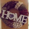 Őszi koszorú ajtódísz, Dekoráció, Dísz, Ünnepi dekoráció, Virágkötés, Őszi koszorú terményekből, száraz virágokból, fa dísztáblával. Akasztható bejárati ajtóra, falra, k..., Meska