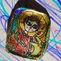 Sárkányölő Szent György karácsonyi dísz, vagy medál, Képzőművészet , Karácsonyi, adventi apróságok, Illusztráció, Karácsonyi dekoráció, Festett tárgyak, Gyurma, Levegőre száradó gyurmából készült miniikon Sárkányölő Szent György képmásával. Karácsonyfadísznek,..., Meska