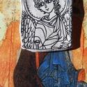 Angyal dísz Andrej Rubljov nyomán, Ékszer, óra, Dekoráció, Karácsonyi, adventi apróságok, Karácsonyfadísz, Festett tárgyak, Fotó, grafika, rajz, illusztráció, Levegőre száradó gyurmából készült angyal, Rubljov: az Ószövetségi szentháromság c. ikonja nyomán. ..., Meska