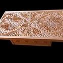 Faragott Dohányzó asztal, Bútor, Asztal, Famegmunkálás, Mozaik, Hársfából készült, saját tervezésű dohányzóasztal. A képen látható termék natúr, kezeletlen állapot..., Meska