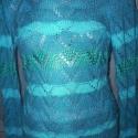 Kék, kötött csipke pulóver, Ruha, divat, cipő, Női ruha, Felsőrész, póló, Kötés, Aprólékos munkával, kézzel kötöttem ezt a különleges csipkepulóvert.  A kék szín 5 féle árnyalatába..., Meska