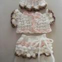 A baba első ünnepi ruhája, Baba-mama-gyerek, Ruha, divat, cipő, Baba-mama kellék, Gyerekruha, Horgolás, Varrás, Kézzel horgolt,0-6 hónapos babáknak való, organza alsórésszel ellátott szoknya, boleró és sapi. A sa..., Meska
