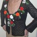 Virágos horgolt kiskabát, Ruha, divat, cipő, Női ruha, Felsőrész, póló, Ezt a látványos, 100% pamut fonalból, kézzel horgolt, saját tervezésű kiskabátot szívből ajánlom - b..., Meska